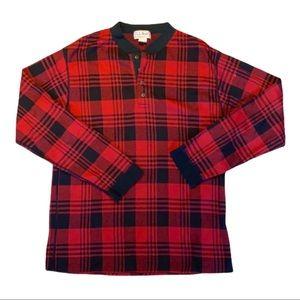 🐿 L.L. BEAN Men's Red & Black Plaid Cotton Shirt